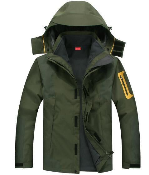 Mazerout Man Skiing 3 In 1 Waterproof Jackets Fishing Winter Windproof Outdoor-Stalkers Outdoor Store-Army Green-XL-Bargain Bait Box