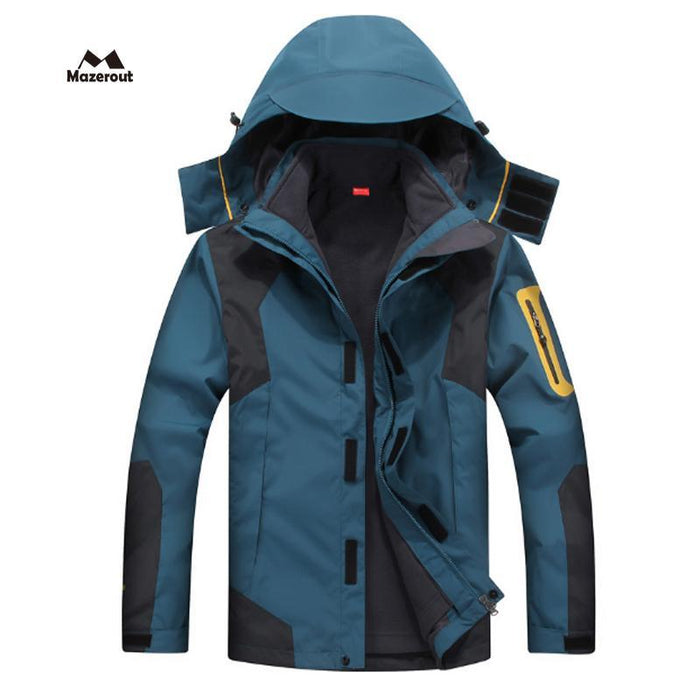 Mazerout Man Skiing 3 In 1 Waterproof Jackets Fishing Winter Windproof Outdoor-Stalkers Outdoor Store-Gray-XL-Bargain Bait Box