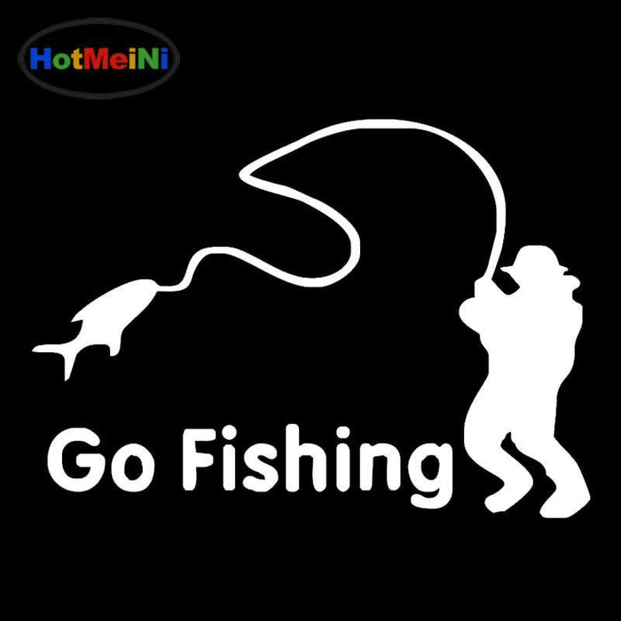 Meini 50Pcs/Lot Life Abstract Art Of Lettering Go Fishing Car Sticker Door-Fishing Decals-Bargain Bait Box-Black-Bargain Bait Box