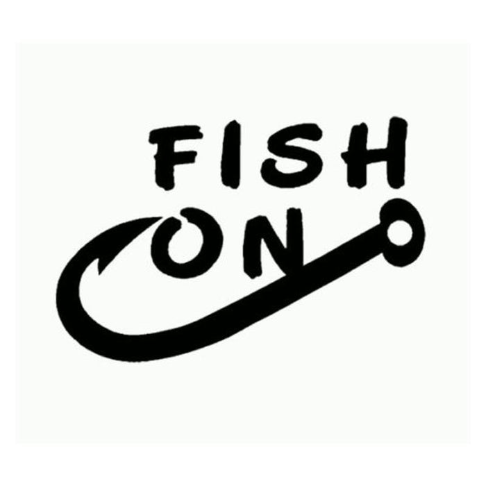 Meini Fish On Fishing Hook Fish Hook White Decal Car Truck Window Sticker-Fishing Decals-Bargain Bait Box-Black-Bargain Bait Box