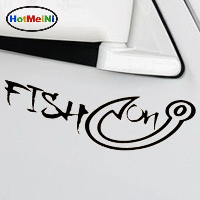 Meini Fishing Gear Fish On Hook Car Sticker For Motorhome Truck Door Car Decor-Fishing Decals-Bargain Bait Box-Red-Bargain Bait Box