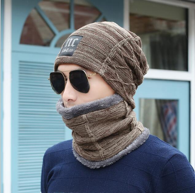 Men Cold Beanies Hat For Men Scarf Set Warm Knitting Wool Caps Knitted Ski-Masks-Bargain Bait Box-NC khaki set-Bargain Bait Box