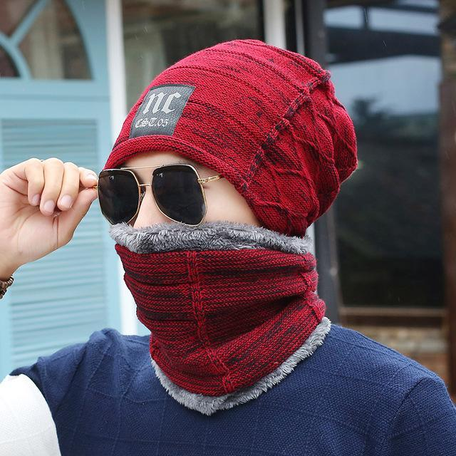 Men Cold Beanies Hat For Men Scarf Set Warm Knitting Wool Caps Knitted Ski-Masks-Bargain Bait Box-NC wine red set-Bargain Bait Box
