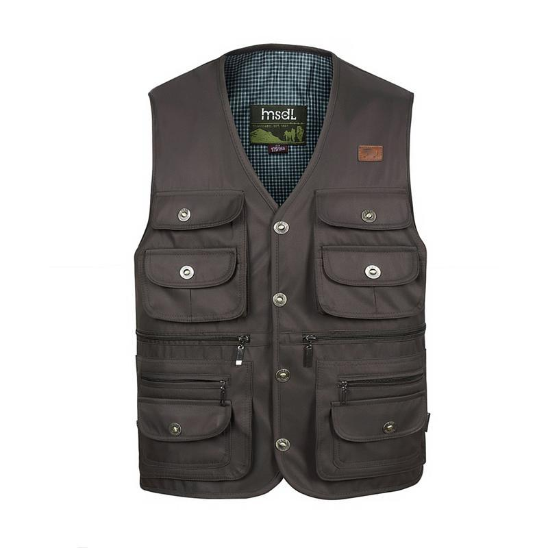 Men Comfortable Vest Masculino Multi-Pocket Reporter Waist Homme Casual Cargo-Vests-Bargain Bait Box-Black-XL-Bargain Bait Box