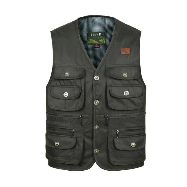 Men Comfortable Vest Masculino Multi-Pocket Reporter Waist Homme Casual Cargo-Vests-Bargain Bait Box-Gray-XL-Bargain Bait Box