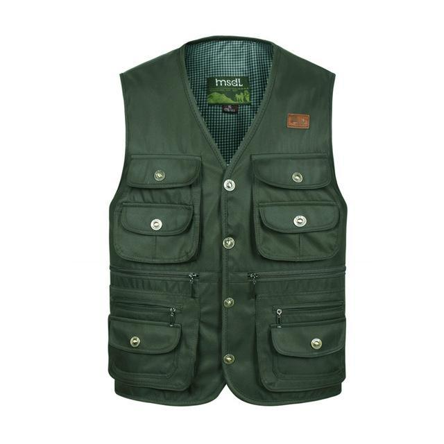 Men Comfortable Vest Masculino Multi-Pocket Reporter Waist Homme Casual Cargo-Vests-Bargain Bait Box-Green-XL-Bargain Bait Box
