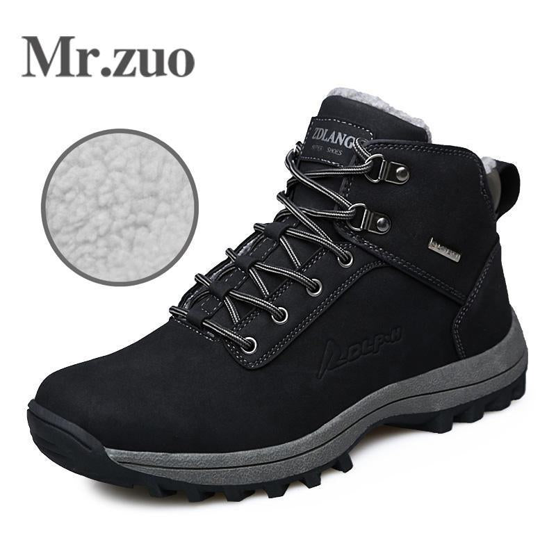 Men Hiking Shoes Winter Sneakers With Fur Warm Snow Boots Men Shoes-Mr.zuo Official Store-Black-7-Bargain Bait Box