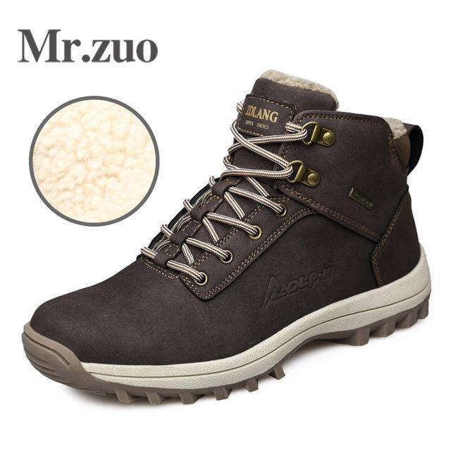 Men Hiking Shoes Winter Sneakers With Fur Warm Snow Boots Men Shoes-Mr.zuo Official Store-Brown-7-Bargain Bait Box