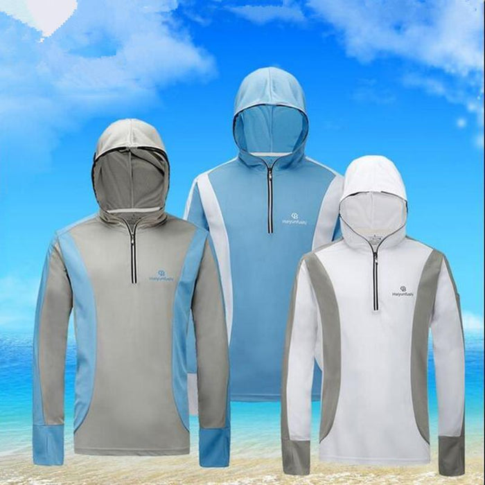 Men Sport Zipper Cardigan Fishing Anti-Mosquito Quick-Drying Breathable Anti-Hoodies-Bargain Bait Box-M-Ice silk Fabric 01-Bargain Bait Box