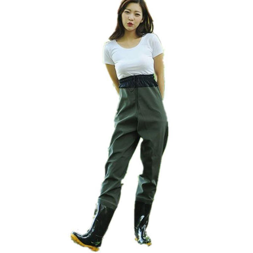 Men Women Half Length Elastic Waist Fishing Wader Pants Boot Waterproof Rubber-Waders Pants-Bargain Bait Box-black-37eu size-Bargain Bait Box