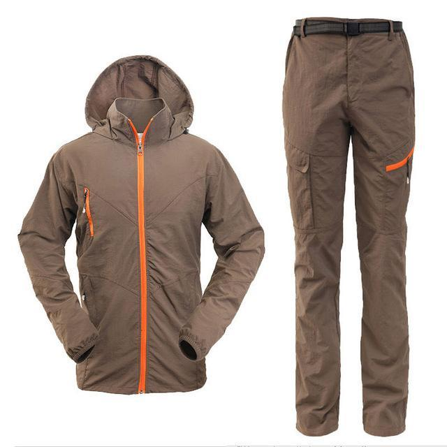 Men Women Hiking Jacket Quick Dry Breathable Jackets Outdoor Pants Sports Suit-Style Me Fitness Sport-men coffee-S-Bargain Bait Box
