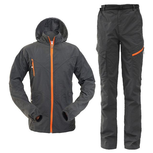 Men Women Hiking Jacket Quick Dry Breathable Jackets Outdoor Pants Sports Suit-Style Me Fitness Sport-men gray-S-Bargain Bait Box