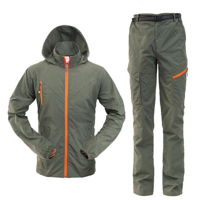 Men Women Hiking Jacket Quick Dry Breathable Jackets Outdoor Pants Sports Suit-Style Me Fitness Sport-men green-S-Bargain Bait Box