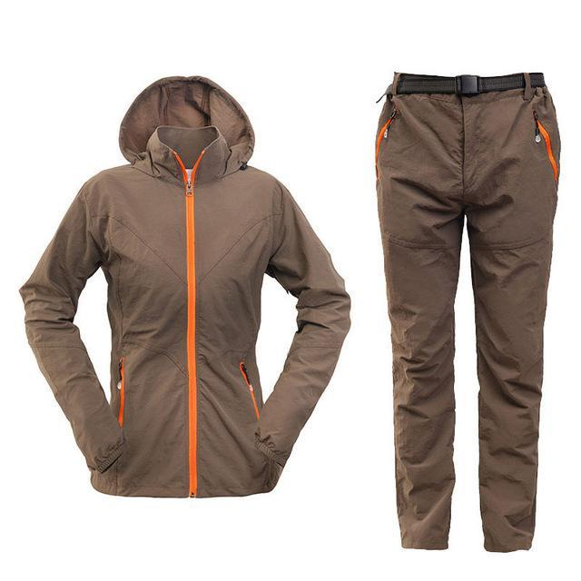 Men Women Hiking Jacket Quick Dry Breathable Jackets Outdoor Pants Sports Suit-Style Me Fitness Sport-women coffee-S-Bargain Bait Box