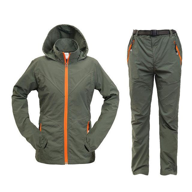 Men Women Hiking Jacket Quick Dry Breathable Jackets Outdoor Pants Sports Suit-Style Me Fitness Sport-women green-S-Bargain Bait Box