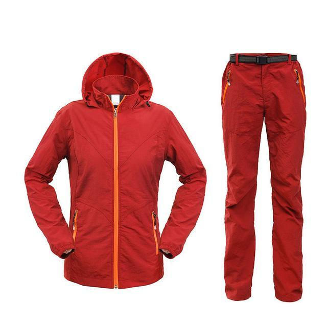 Men Women Hiking Jacket Quick Dry Breathable Jackets Outdoor Pants Sports Suit-Style Me Fitness Sport-women red-S-Bargain Bait Box
