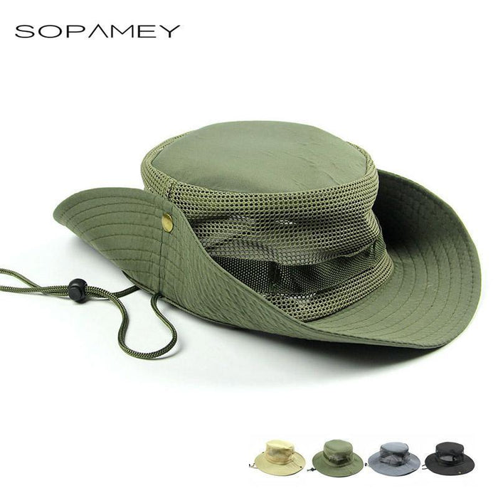 Men'S Breathable Fishing Hat Shade Cap Wide Brim Hat Uv Protection Cap Men-Hats-Bargain Bait Box-Army Green-Bargain Bait Box