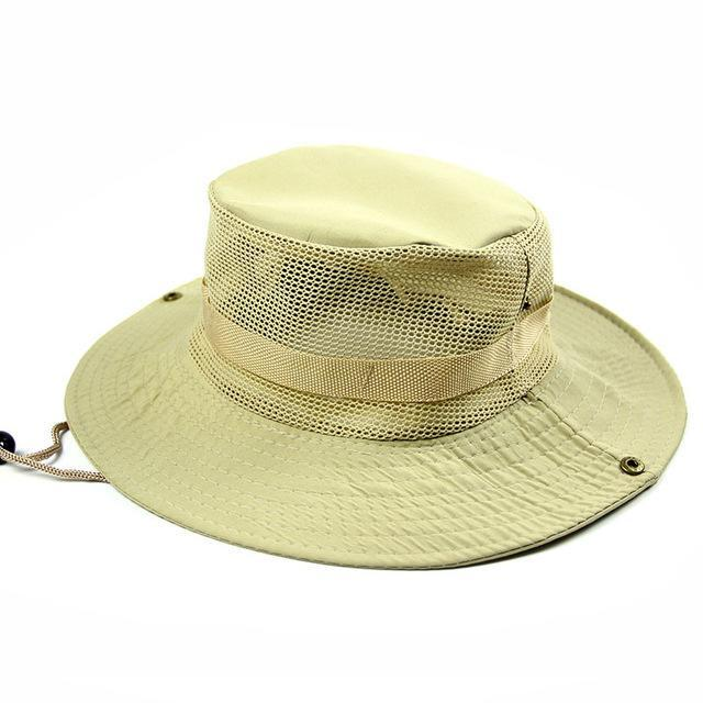Men'S Breathable Fishing Hat Shade Cap Wide Brim Hat Uv Protection Cap Men-Hats-Bargain Bait Box-Beige-Bargain Bait Box