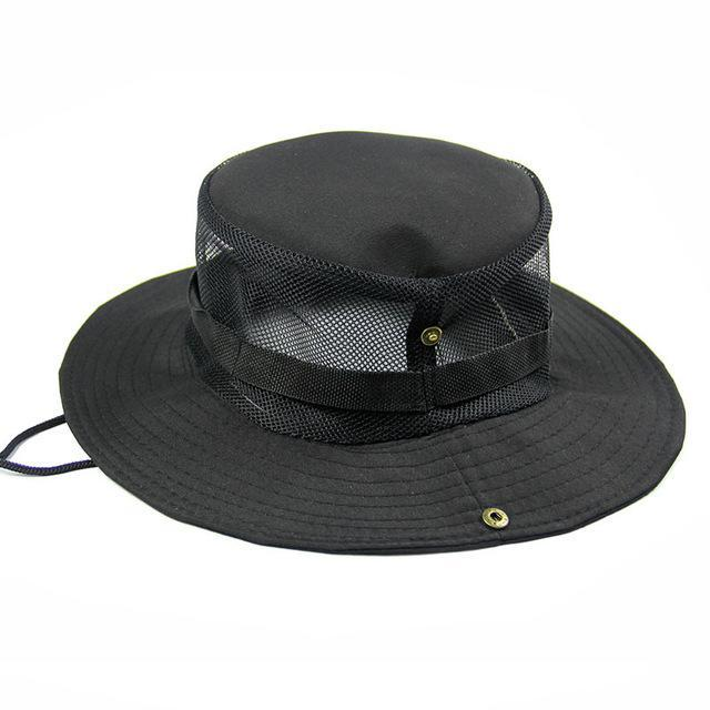 Men'S Breathable Fishing Hat Shade Cap Wide Brim Hat Uv Protection Cap Men-Hats-Bargain Bait Box-Black-Bargain Bait Box