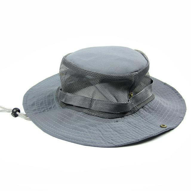Men'S Breathable Fishing Hat Shade Cap Wide Brim Hat Uv Protection Cap Men-Hats-Bargain Bait Box-Gray-Bargain Bait Box