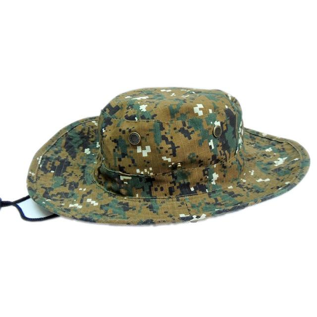 Mens Camo Camo Combat Bush Hat Fishing Military Cotton Boonie Cap Hatcs0510-Hats-Bargain Bait Box-S232-Dark Coffee-Bargain Bait Box