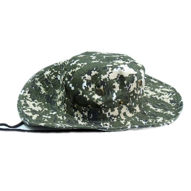 Mens Camo Camo Combat Bush Hat Fishing Military Cotton Boonie Cap Hatcs0510-Hats-Bargain Bait Box-S232-Dark Green-Bargain Bait Box
