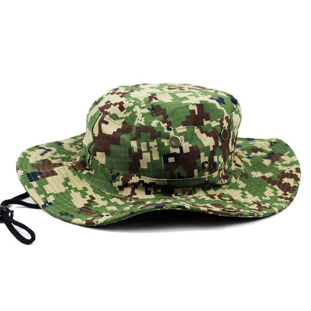 Mens Camo Camo Combat Bush Hat Fishing Military Cotton Boonie Cap Hatcs0510-Hats-Bargain Bait Box-S232-Green-Bargain Bait Box