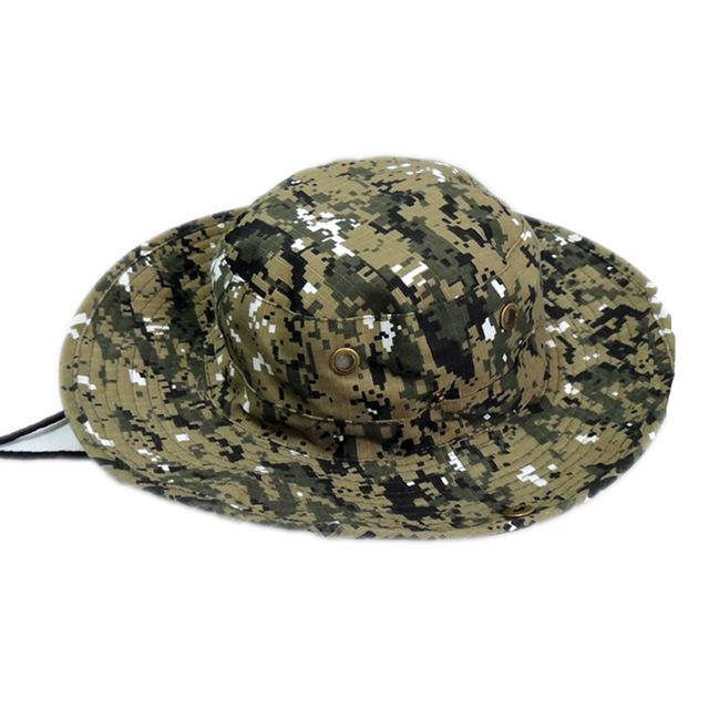 Mens Camo Camo Combat Bush Hat Fishing Military Cotton Boonie Cap Hatcs0510-Hats-Bargain Bait Box-S232-Light Coffee-Bargain Bait Box