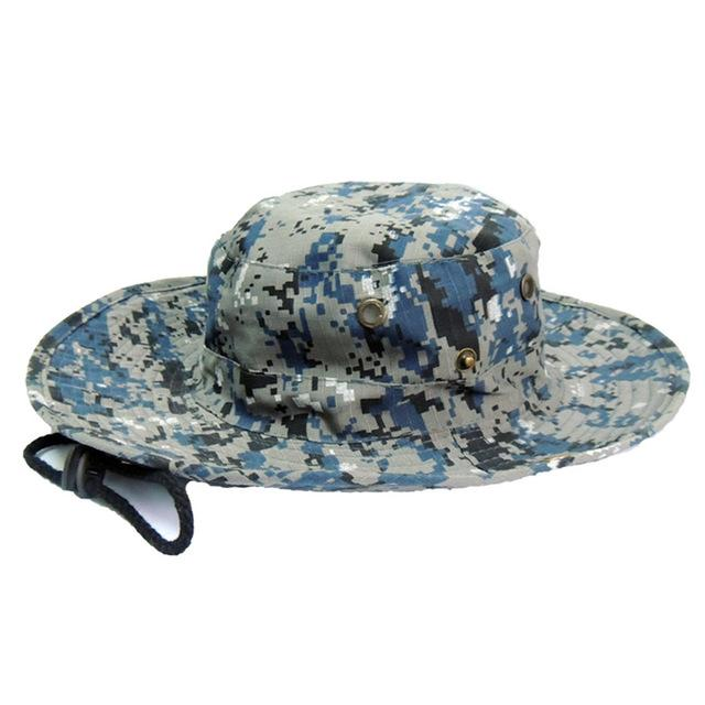 Mens Camo Camo Combat Bush Hat Fishing Military Cotton Boonie Cap Hatcs0510-Hats-Bargain Bait Box-S232-Sky Blue-Bargain Bait Box