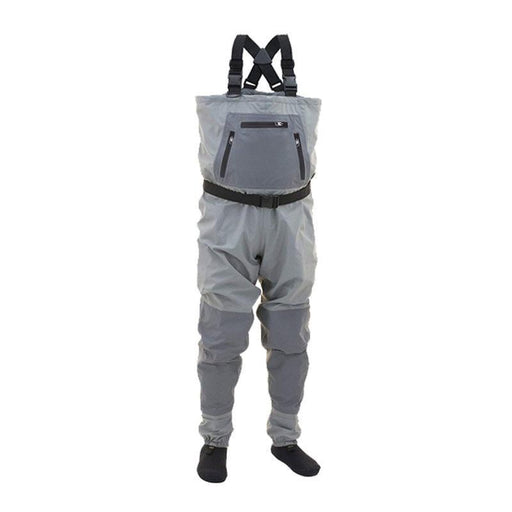 Men'S Fishing Waders 3Ply Durable Breathable With Neoprene Stocking Foot-Chest Waders-Pro-Waterproof Factory Store-3XS-Gray-Bargain Bait Box