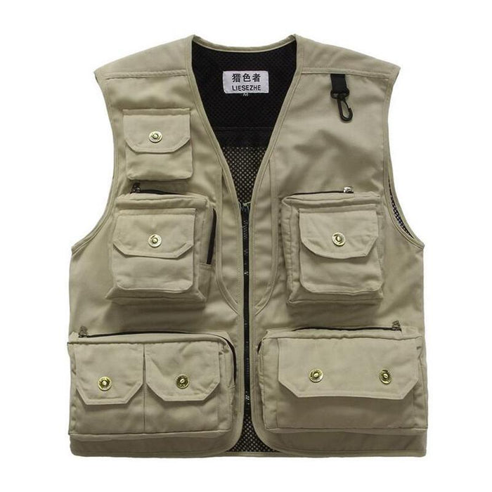 Mens Fly Fishing Vest Sleeveless Quick-Drying Fish Jackets Coats Camping Vest-Fishing Vests-Bargain Bait Box-Black-L-Bargain Bait Box