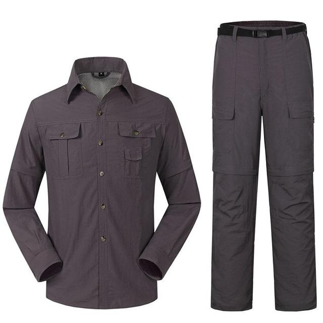 Men'S Quick Dry Shirt + Pants Suit Removable Camping Fishing Clothes-Fishing Suits-Bargain Bait Box-Gray-S-Bargain Bait Box
