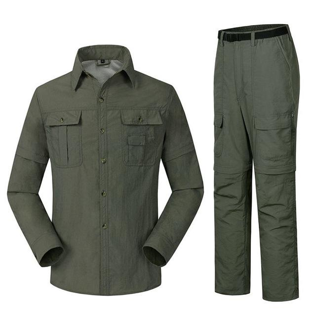 Men'S Quick Dry Shirt + Pants Suit Removable Camping Fishing Clothes-Fishing Suits-Bargain Bait Box-Green-S-Bargain Bait Box