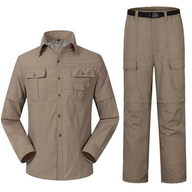 Men'S Quick Dry Shirt + Pants Suit Removable Camping Fishing Clothes-Fishing Suits-Bargain Bait Box-Khaki-S-Bargain Bait Box