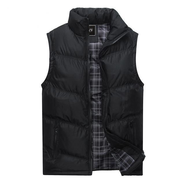 Mens Sleeveless Vest Casual S Male Cotton-Padded Men'S Vest Men Thicken Waist-Vests-Bargain Bait Box-Black-M-Bargain Bait Box