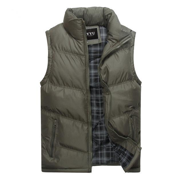 Mens Sleeveless Vest Casual S Male Cotton-Padded Men'S Vest Men Thicken Waist-Vests-Bargain Bait Box-Gray-M-Bargain Bait Box
