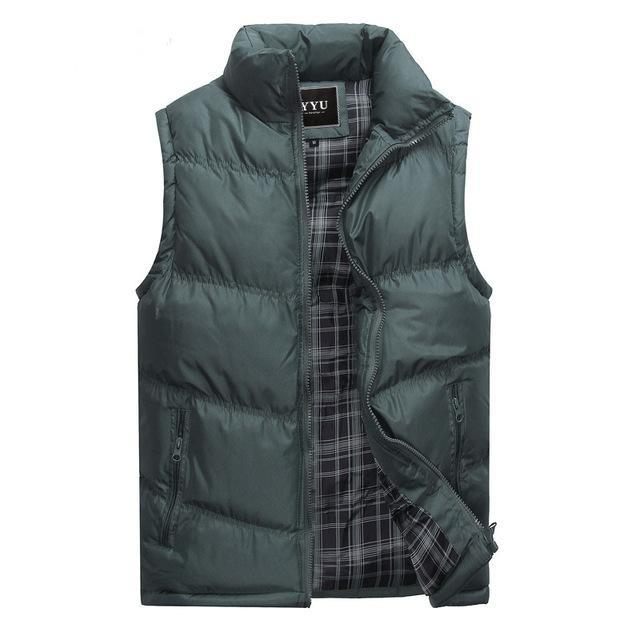 Mens Sleeveless Vest Casual S Male Cotton-Padded Men'S Vest Men Thicken Waist-Vests-Bargain Bait Box-Green-M-Bargain Bait Box