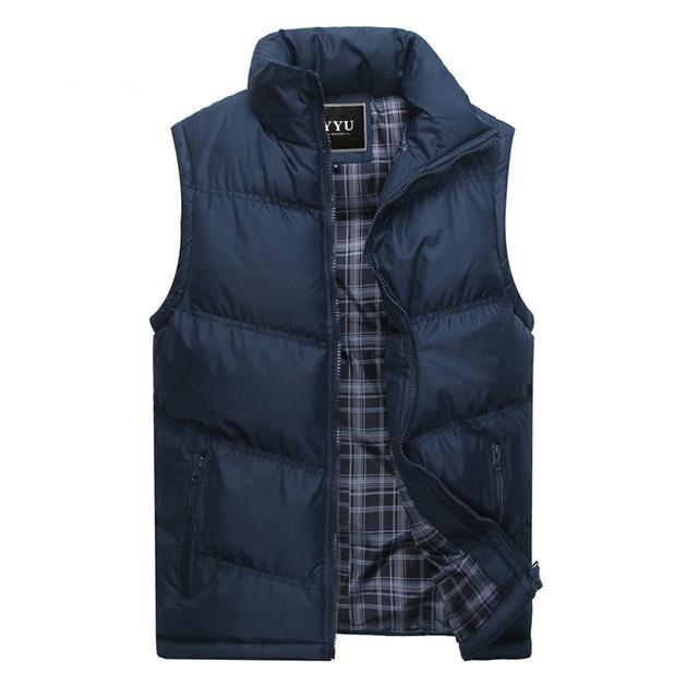 Mens Sleeveless Vest Casual S Male Cotton-Padded Men'S Vest Men Thicken Waist-Vests-Bargain Bait Box-Navy Blue-M-Bargain Bait Box
