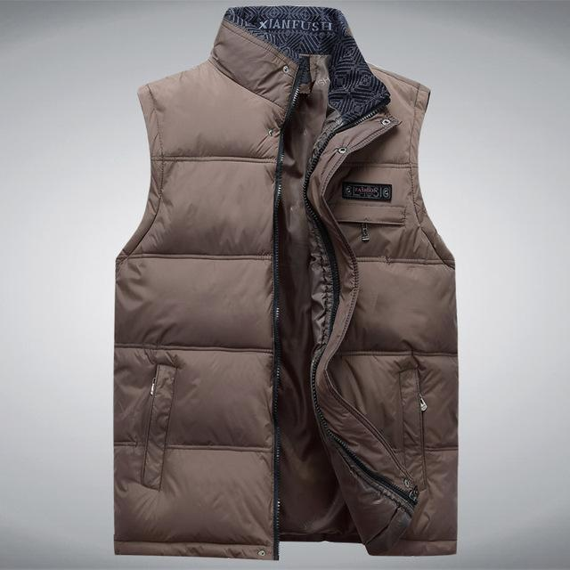 Men'S Sleeveless Vest Homme Casual S Male Cotton-Padded Men'S Warm Vest-Vests-Bargain Bait Box-Khaki-XL-Bargain Bait Box