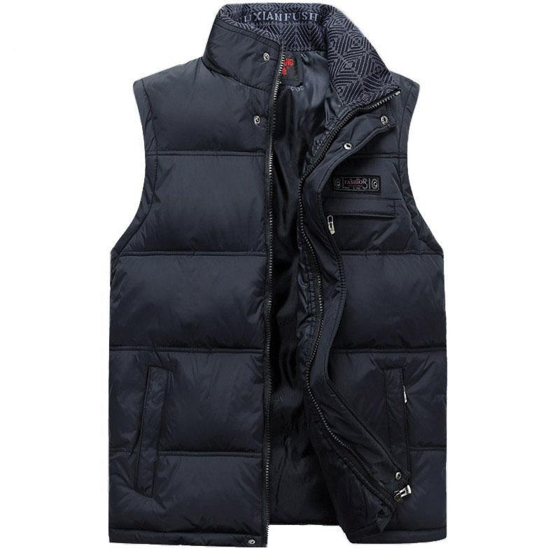 Men'S Sleeveless Vest Homme Casual S Male Cotton-Padded Men'S Warm Vest-Vests-Bargain Bait Box-Navy Blue-XL-Bargain Bait Box