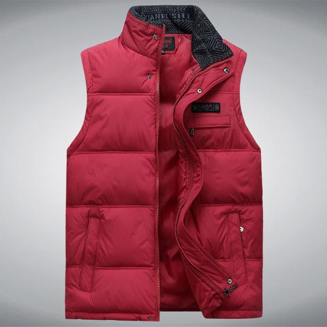 Men'S Sleeveless Vest Homme Casual S Male Cotton-Padded Men'S Warm Vest-Vests-Bargain Bait Box-Red-XL-Bargain Bait Box