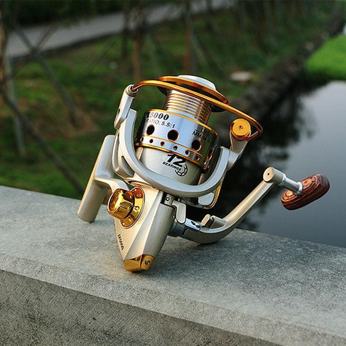 Metal Spool Fishing Reel 12Bb 1000 - 7000 Series Spinning Reel Carretilha-Spinning Reels-HUDA Outdoor Equipment Store-Gold-1000 Series-Bargain Bait Box