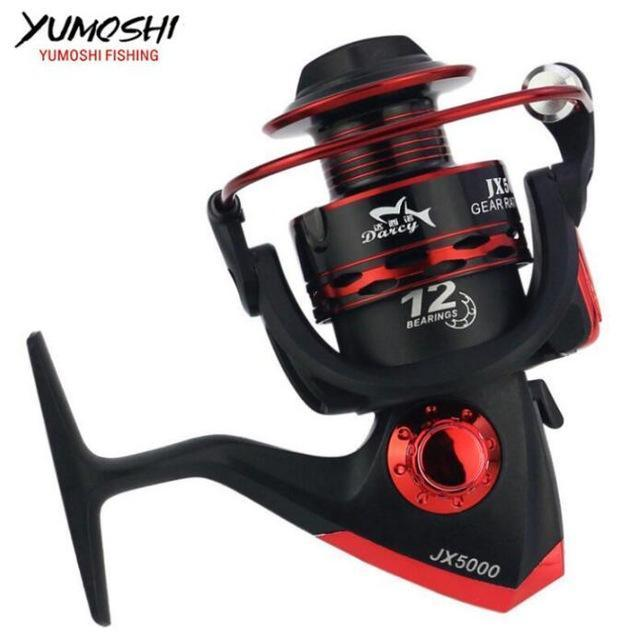Metal Spool Fishing Reel 12Bb 1000 - 7000 Series Spinning Reel Carretilha-Spinning Reels-HUDA Outdoor Equipment Store-Red-1000 Series-Bargain Bait Box