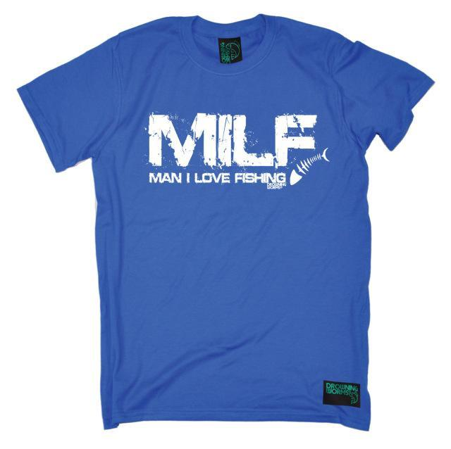 Milf Man I Love Fishinger T-Shirt Tee Fish Boat Worms Angling Funny Gift-Shirts-Bargain Bait Box-Blue-S-Bargain Bait Box