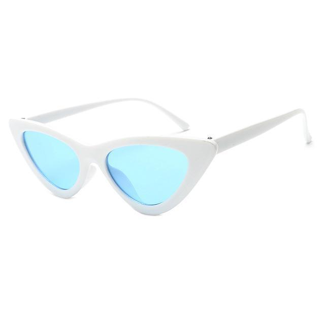 Mineway Brand Designer Sunglasses Women Vintage Cat Eye Sexy Small Frame-Sunglasses-MINEWAY Store-White frame blue-Bargain Bait Box