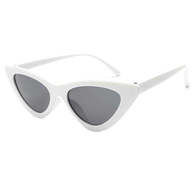 Mineway Brand Designer Sunglasses Women Vintage Cat Eye Sexy Small Frame-Sunglasses-MINEWAY Store-White frame gray-Bargain Bait Box