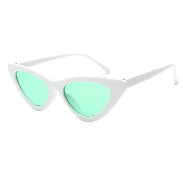 Mineway Brand Designer Sunglasses Women Vintage Cat Eye Sexy Small Frame-Sunglasses-MINEWAY Store-White frame green-Bargain Bait Box
