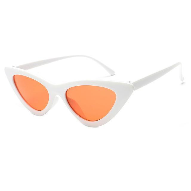 Mineway Brand Designer Sunglasses Women Vintage Cat Eye Sexy Small Frame-Sunglasses-MINEWAY Store-White frame orange-Bargain Bait Box