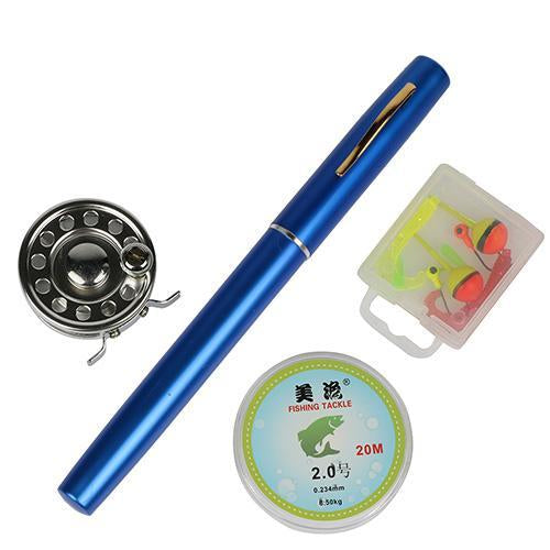 Mini Rod Ice Rod And Fly Reel Combos Telescopic Pen Fishing Pole Extended Length-Ice Fishing Rod & Reel Combos-Bargain Bait Box-Blue-Bargain Bait Box