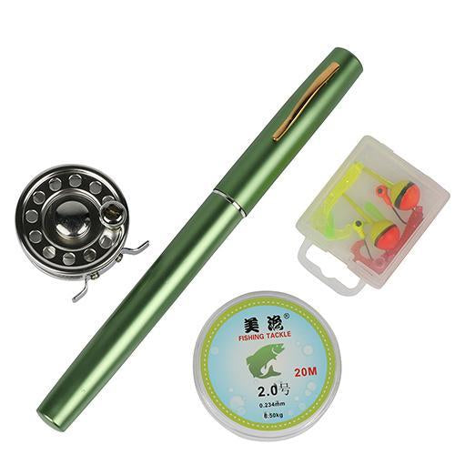 Mini Rod Ice Rod And Fly Reel Combos Telescopic Pen Fishing Pole Extended Length-Ice Fishing Rod & Reel Combos-Bargain Bait Box-Green-Bargain Bait Box